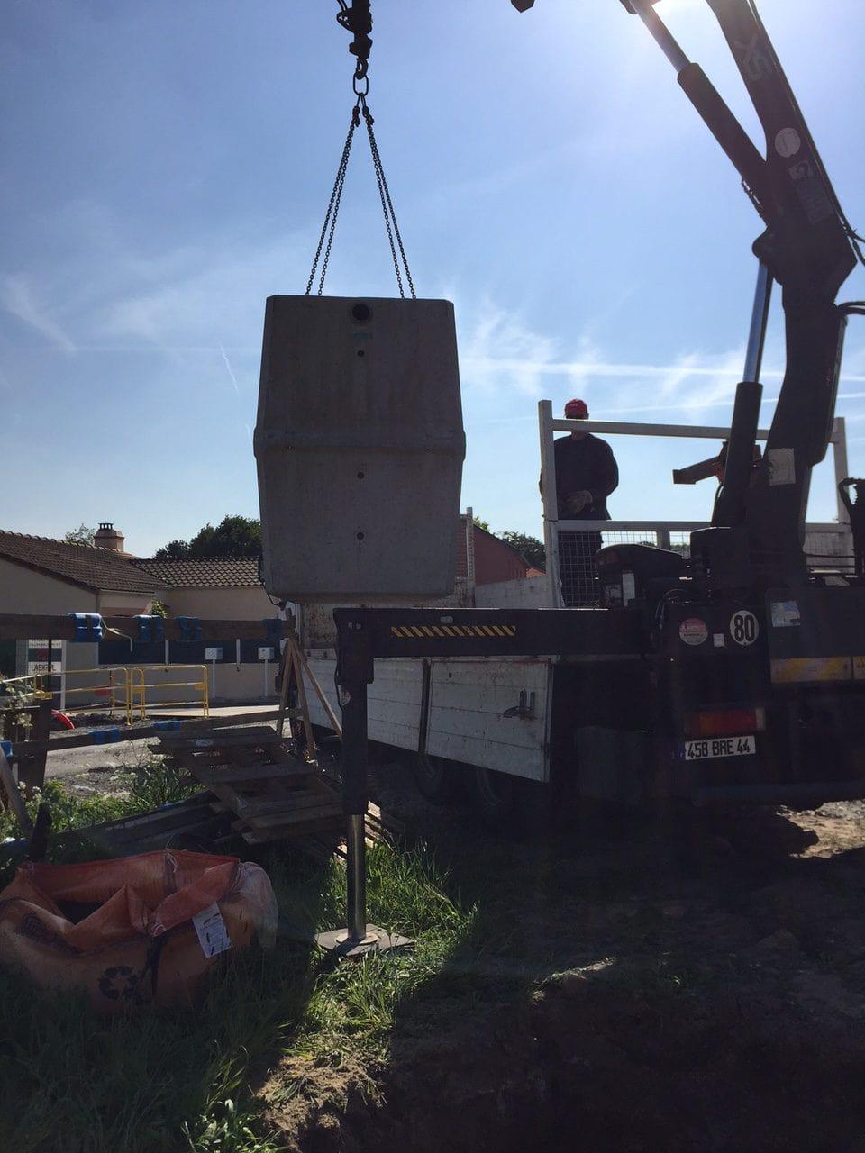 installation cuve de récupération d'eau béton otop